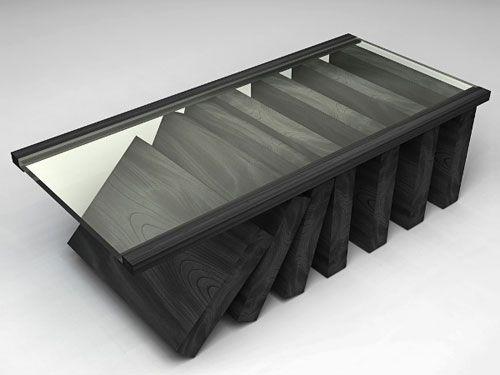 Domino taşlarından oluşturulmuş sehpa tasarımı